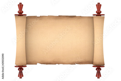 Blank Old Paper Scroll Parchment Mockup  3d Rendering