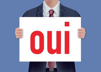 oui - pancarte - présentation - accepter - accord - concept - homme - voter - choisir - union