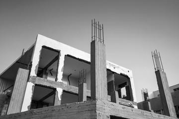 Gray concrete building is under construction