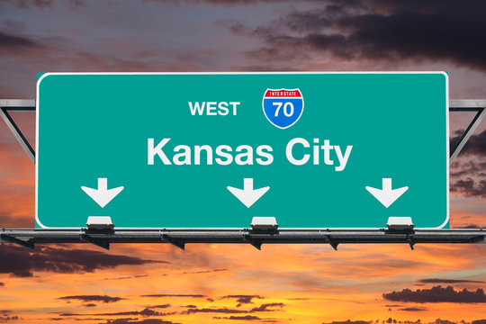 Kansas City Missouri 70 Freeway Sign with Sunset Sky