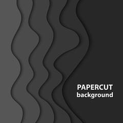 Vector background with black color paper cut shapes. 3D abstract paper art style, design layout for business presentations, flyers, posters, prints, decoration, cards, brochure cover.