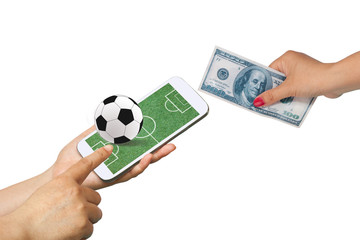 Men hold Mobile to play Football Betting online .