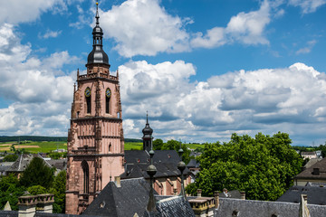 A view over Eltville with the Churchtower in the foreground  Rheinland-Pfalz Germany