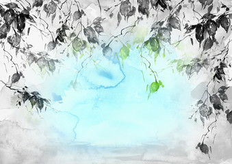 Watercolor blue, green,black and white background, blot, blob, splash of blue, green paint on white background. Watercolor blue, green  spot, abstraction. Abstract art illustration.Ecological poster