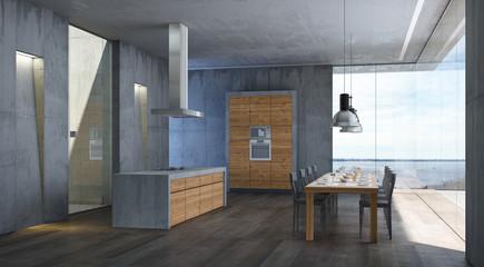 Küche modern mit Panoramablick