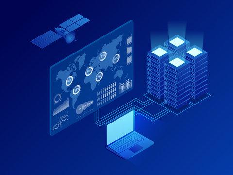 Isometric global information digital network, big data processing, energy station of future, server room rack, data center concept. Vector isometric illustration