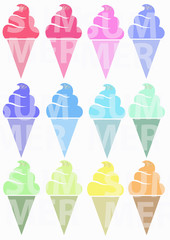 Colored ice creams. Summer picture