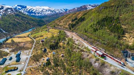 Train Oslo - Bergen in mountains. Norway.