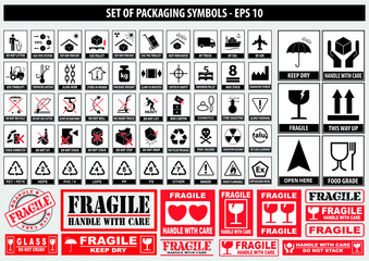 Obraz Set Of Packaging Symbols (this side up, handle with care, fragile, keep dry, keep away from direct sunlight, do not drop, do not litter, use only the trolley, use fifo system, max carton, recyclable) - fototapety do salonu