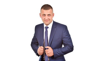 Man in suit on white background. Confident businessman. Office worker.
