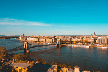 warm colored picture of budapest overview in the summer