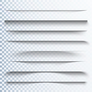 3d transparent shadows effect. Page dividers with transparent shadows. Pages separation set. Transparent shadow realistic illustration