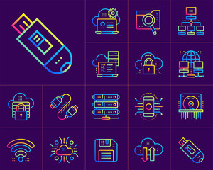 Gradient outline icons set of cloud computing, internet technology, data secure. Suitable for infographics, websites, print media and interfaces