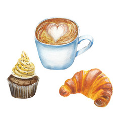 Coffee and cake watercolor