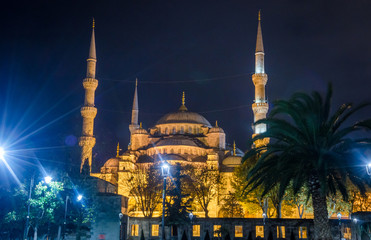 The Blue Mosque, (Sultanahmet Camii) in the night, Istanbul, Turkey.