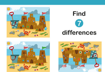 Find 7 differences education game for children, featuring a sand castle on the beach. Vector illustration.