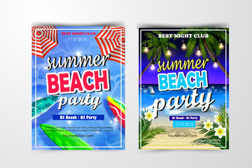 Poster for summer and beach party background