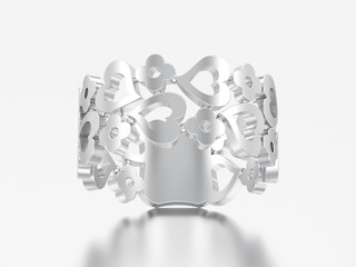 3D illustration white gold or silver decorative curve out flowers and hearts ring