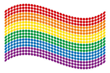 Waving gay pride flag of the LGBT movement. Dotted rainbow flag consisting of six colored stripes. Isolated. Illustration on white backhground. Vector.