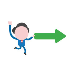 Vector businessman character running and carrying arrow moving right