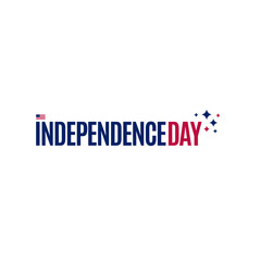 USA flag and text on white background, vector illustration. American national design element. Undependence day of united states of America, july fourth logo.