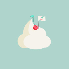 Kawaii Summer illustration of a cherry fruit placing a cherry flag on the top of a mountain made of sweet whipped cream. Background is candy light green. A real conquerer!
