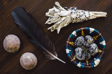 Sage Smudge with Crow Feather and Stones