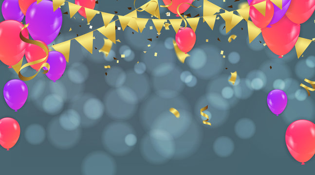Party decoration concept Happy Birthday greeting card bokeh effect
