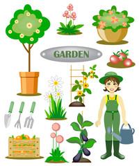 garden set with a gardener, flowers and vegetables
