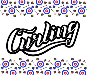 Curling sport lettering text with broom, stone and house on white background. Vector illustration. Curling modern brush calligraphy. Sport, activity vector design. Print for logo, T-shirt and caps.