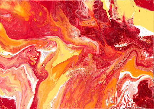 Fire | Red, Orange, Yellow, Gold, and White Fluid Acrylic Abstract Painting