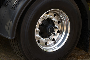 Chromed Truck Wheel Closeup. Heavy Duty Truck Wheel