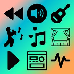 Vector icon set  about music player with 9 icons related to theatre, act, background, love and elegant
