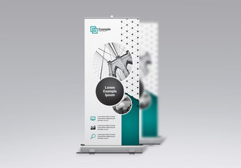 Business Banner Layout with Images and Teal Accents