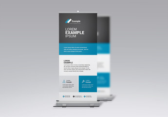 Gray and Blue Business Banner Layout