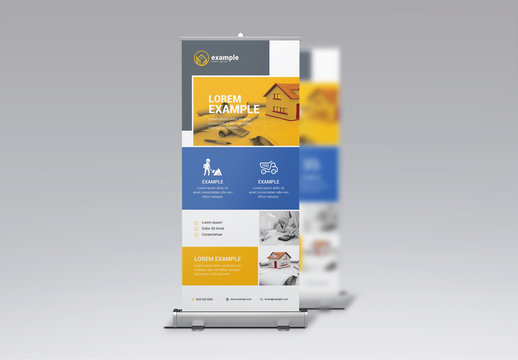 Business Banner Layout with Blue and Yellow Sections