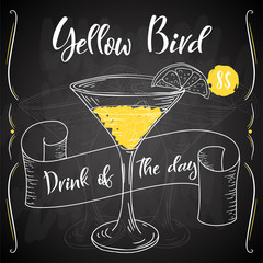 Vector dring poster. Cocktail Yellow Bird for restaurant and cafe. Hand drawn illustration