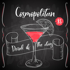Vector dring poster. Cocktail Cosmopolitan for restaurant and cafe. Hand drawn illustration