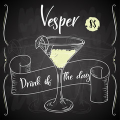 Vector dring poster. Cocktail Vesper for restaurant and cafe. Hand drawn illustration
