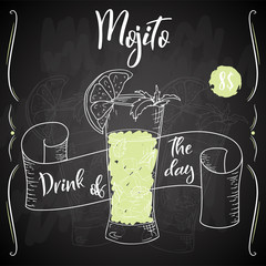 Alcoholc cocktail Mojito. Party summer poster. Vector background