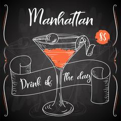 Manhattan cocktail. Hand drawn drink on white background. Vector illustration