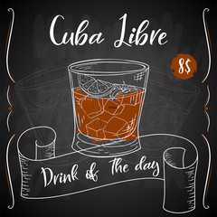 Cuba Libre cocktail. Hand drawn drink on white background. Vector illustration