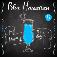 Blue hawaian cocktail. Hand drawn drink on white background. Vector illustration