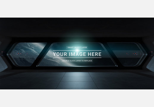 Futuristic Spaceship Window with Dark Interior Mockup