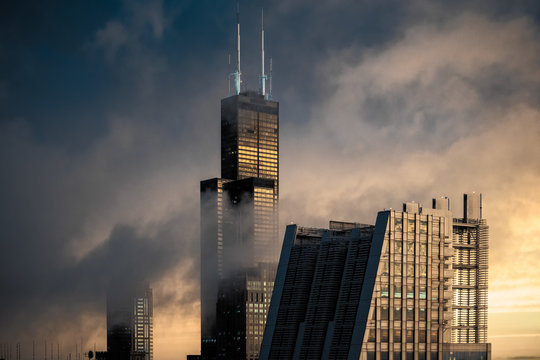 Chicago Skyline In The Clouds On A Stormy Day