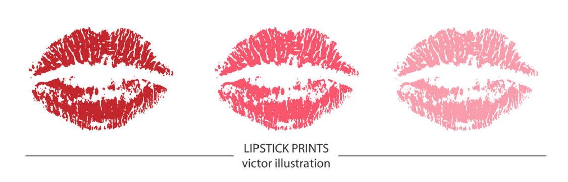 Set of red and pink lipstick prints on white background. Romantic print with lips. Realistic vector illustration. Kissing lips vector design for poster, decoration, logo, card, banner, postcard, print