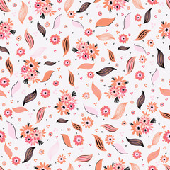 Ditsy Daisies Bouquet, Seamless Pattern Background, Delightful Floral Illustration for Summer  Fashion Prints,Textiles, Scrapbooking, Decor & Pretty Stationery, Vector Surface Pattern Design