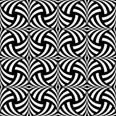 FAN OPTIC ART. STRIPED LINES MONOCHROME SEAMLESS VECTOR PATTERN.