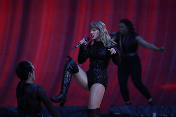 Singer Taylor Swift performs during her reputation stadium Tour at Wembley Stadium in London