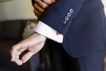 Groom with cuff link
